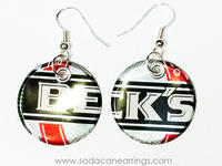 Earrings hand made from recycled Beck's can