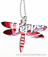 Dragonfly necklace hand made from recycled Dr.Pepper can
