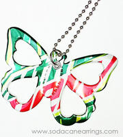 Butterfly necklace hand made from recycled Mountain Dew can