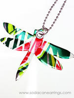 Dragonfly necklace hand made from recycled Mt. Dew can