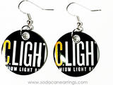 Earrings hand made from a recycled IC Light can