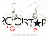 Earrings hand made from a recycled Rockstar Sugar Free can