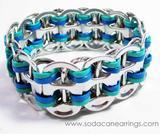 Blue & Teal recycled pop tab bracelet