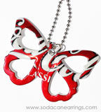 Butterfly necklace hand made from recycled Coca-Cola can