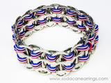 hand made Red, White & Blue Stripe pop tab bracelet